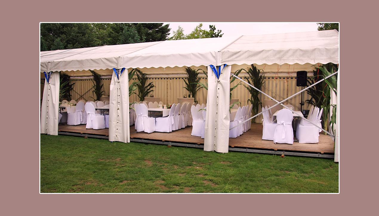 Hochzeit im Zelt mit weißer Tischdeko Niederkrüchten Mönchengladbach